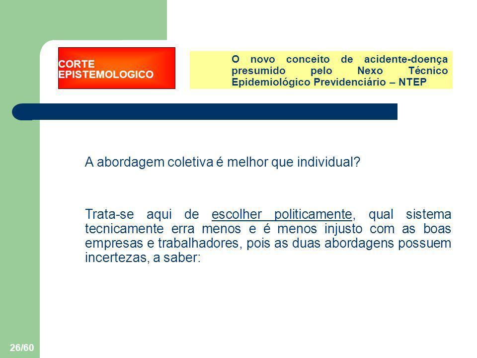 26/60 O novo conceito de acidente-doença presumido pelo Nexo Técnico Epidemiológico Previdenciário – NTEP A abordagem coletiva é melhor que individual