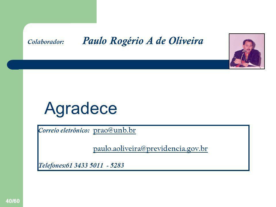 40/60 Agradece Colaborador: Paulo Rogério A de Oliveira Correio eletrônico: prao@unb.br prao@unb.br paulo.aoliveira@previdencia.gov.br Telefones:61 34