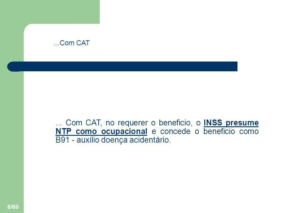 8/60... Com CAT, no requerer o beneficio, o INSS presume NTP como ocupacional e concede o beneficio como B91 - auxilio doença acidentário....Com CAT