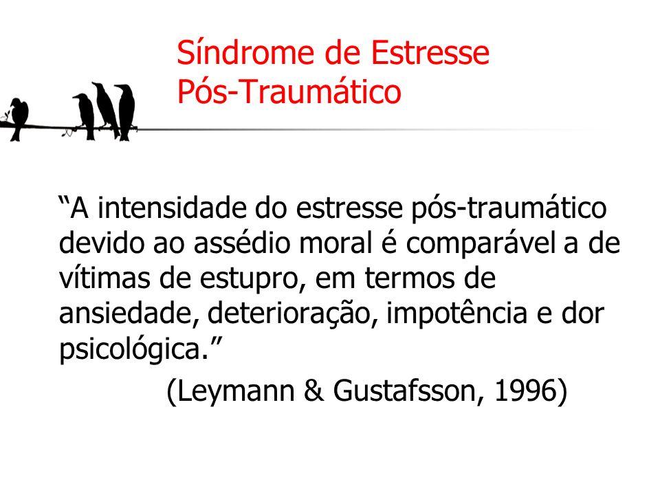 Síndrome de Estresse Pós-Traumático A intensidade do estresse pós-traumático devido ao assédio moral é comparável a de vítimas de estupro, em termos d
