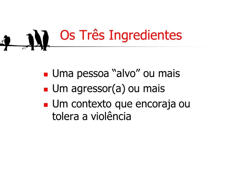 Os Três Ingredientes Uma pessoa alvo ou mais Um agressor(a) ou mais Um contexto que encoraja ou tolera a violência