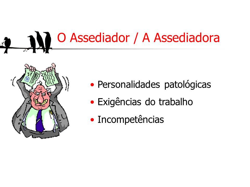 O Assediador / A Assediadora Personalidades patológicas Exigências do trabalho Incompetências