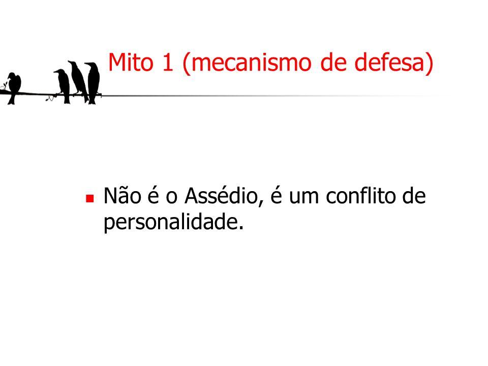 Mito 1 (mecanismo de defesa) Não é o Assédio, é um conflito de personalidade.