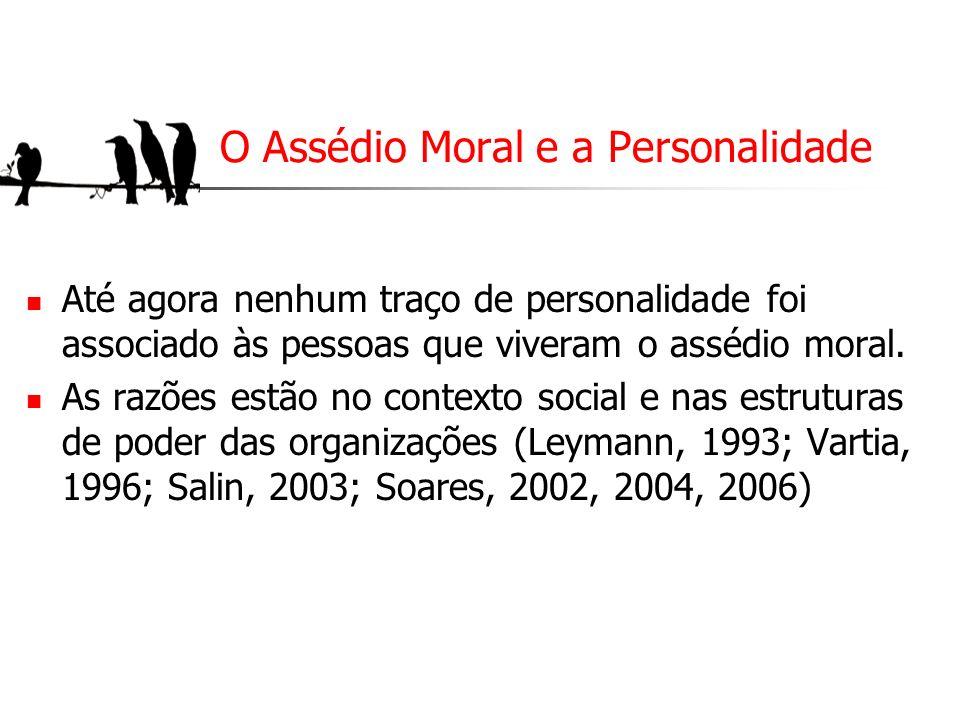 O Assédio Moral e a Personalidade Até agora nenhum traço de personalidade foi associado às pessoas que viveram o assédio moral. As razões estão no con