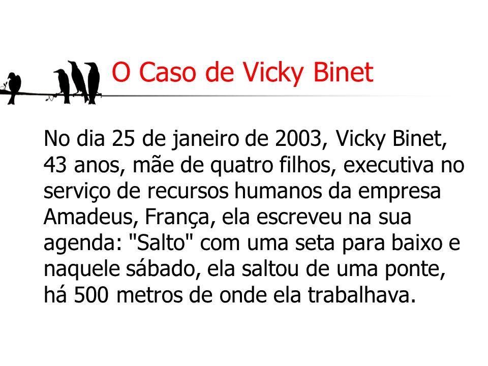 O Caso de Vicky Binet No dia 25 de janeiro de 2003, Vicky Binet, 43 anos, mãe de quatro filhos, executiva no serviço de recursos humanos da empresa Am