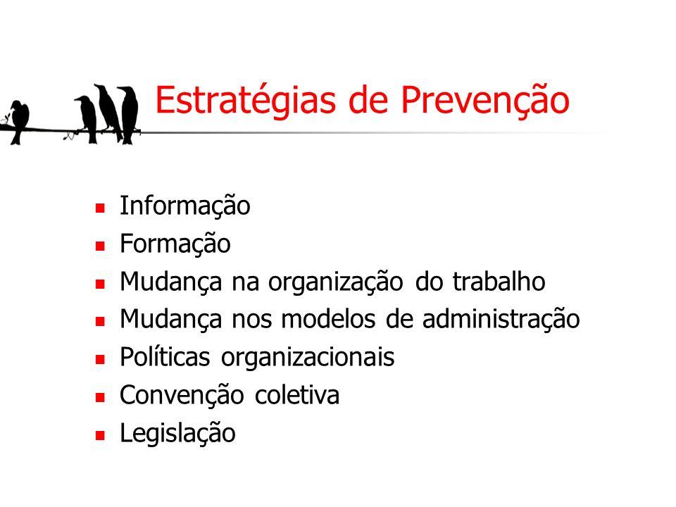 Estratégias de Prevenção Informação Formação Mudança na organização do trabalho Mudança nos modelos de administração Políticas organizacionais Convenç