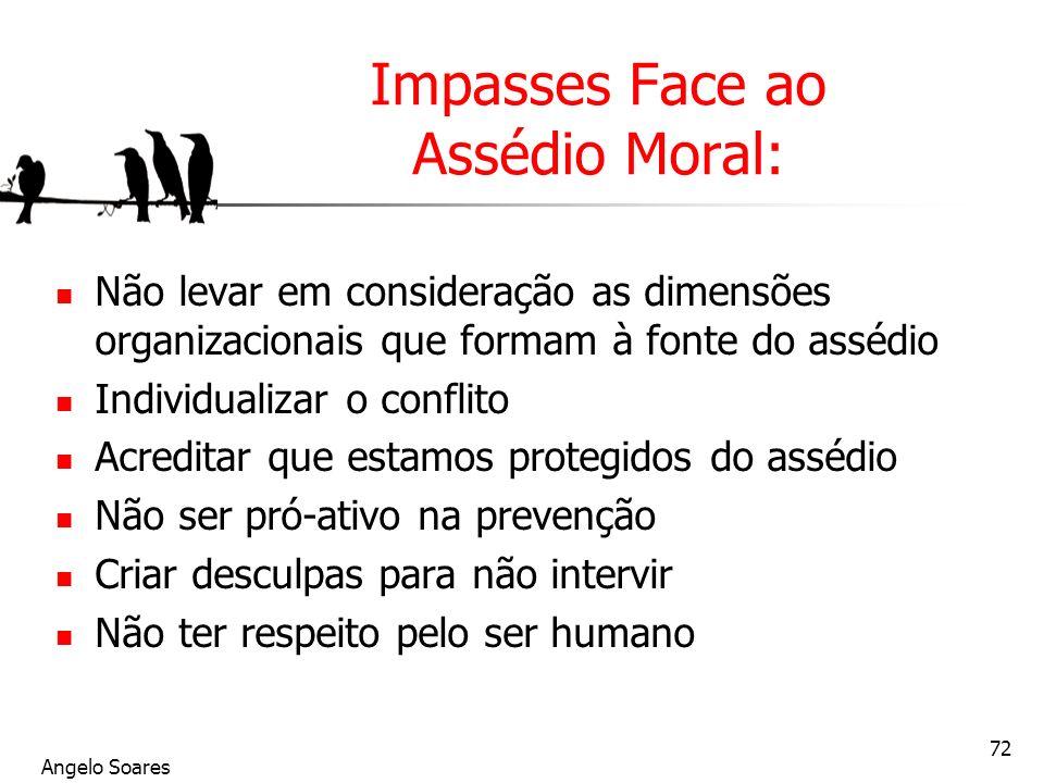 Angelo Soares 72 Impasses Face ao Assédio Moral: Não levar em consideração as dimensões organizacionais que formam à fonte do assédio Individualizar o