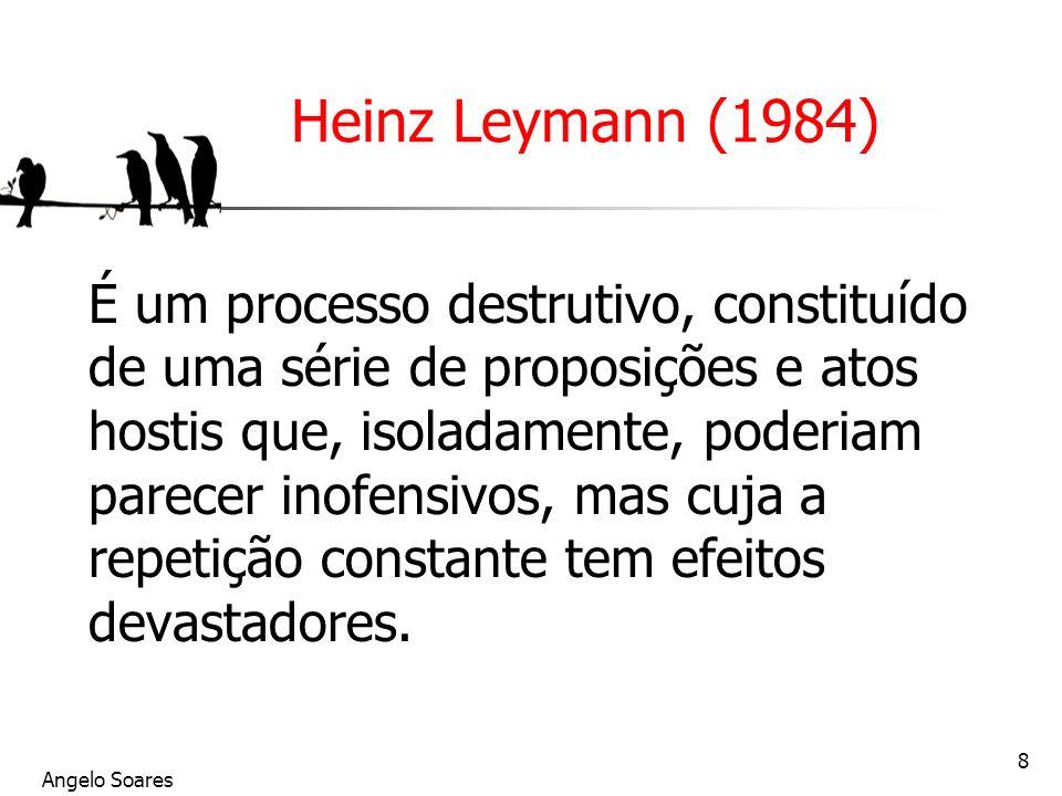 Angelo Soares 8 Heinz Leymann (1984) É um processo destrutivo, constituído de uma série de proposições e atos hostis que, isoladamente, poderiam parec