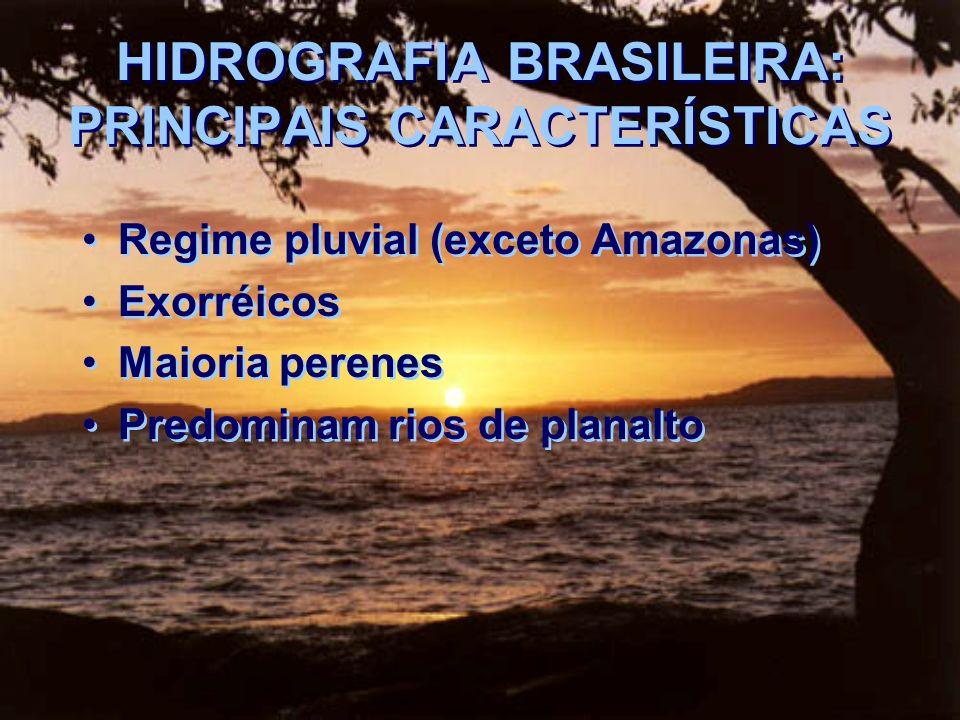 HIDROGRAFIA BRASILEIRA: PRINCIPAIS CARACTERÍSTICAS Regime pluvial (exceto Amazonas) Exorréicos Maioria perenes Predominam rios de planalto Regime pluv