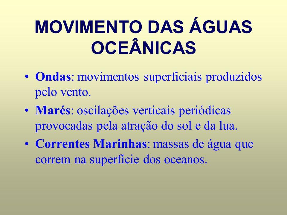 MOVIMENTO DAS ÁGUAS OCEÂNICAS Ondas: movimentos superficiais produzidos pelo vento. Marés: oscilações verticais periódicas provocadas pela atração do