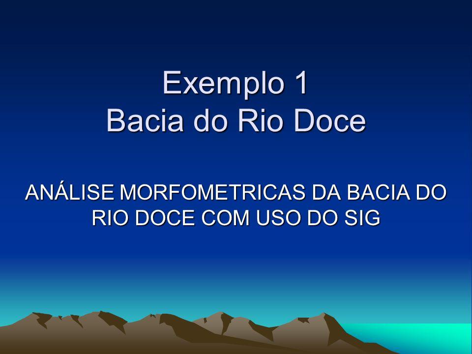 Informações morfometricas da Bacia do Rio Doce: Localização:86% pertence a Minas Gerais 14% Pertence a Espírito Santo Área = 83.672 km² Perímetro = 2.848,6 km Comprimento total dos cursos dágua = 24.069,5 km