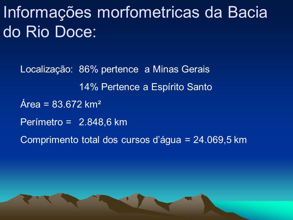 Informações morfometricas da Bacia do Rio Doce: Localização:86% pertence a Minas Gerais 14% Pertence a Espírito Santo Área = 83.672 km² Perímetro = 2.