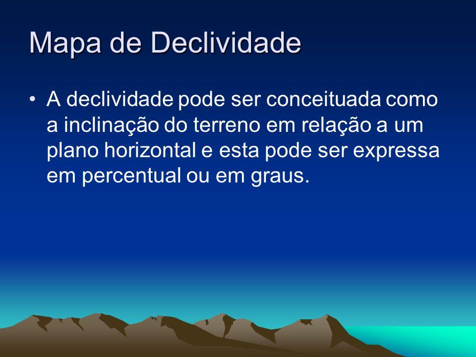 Mapa de Declividade A declividade pode ser conceituada como a inclinação do terreno em relação a um plano horizontal e esta pode ser expressa em perce