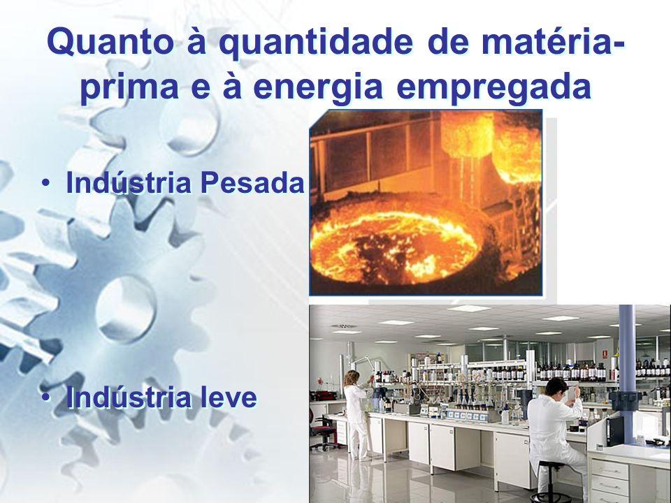 Quanto à quantidade de matéria- prima e à energia empregada Indústria Pesada Indústria leve Indústria Pesada Indústria leve