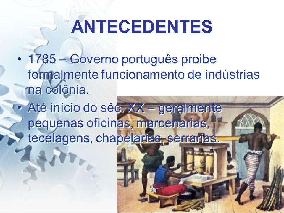 ANTECEDENTES 1785 – Governo português proibe formalmente funcionamento de indústrias na colônia. Até início do séc. XX – geralmente pequenas oficinas,