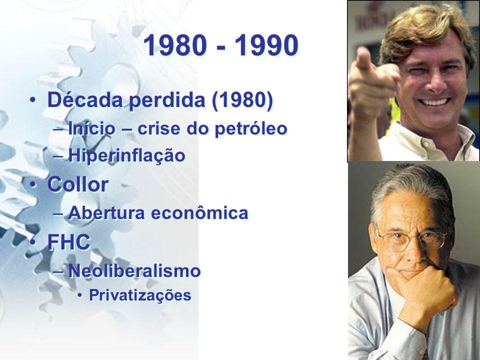 1980 - 1990 Década perdida (1980) –Início – crise do petróleo –Hiperinflação Collor –Abertura econômica FHC –Neoliberalismo Privatizações Década perdi