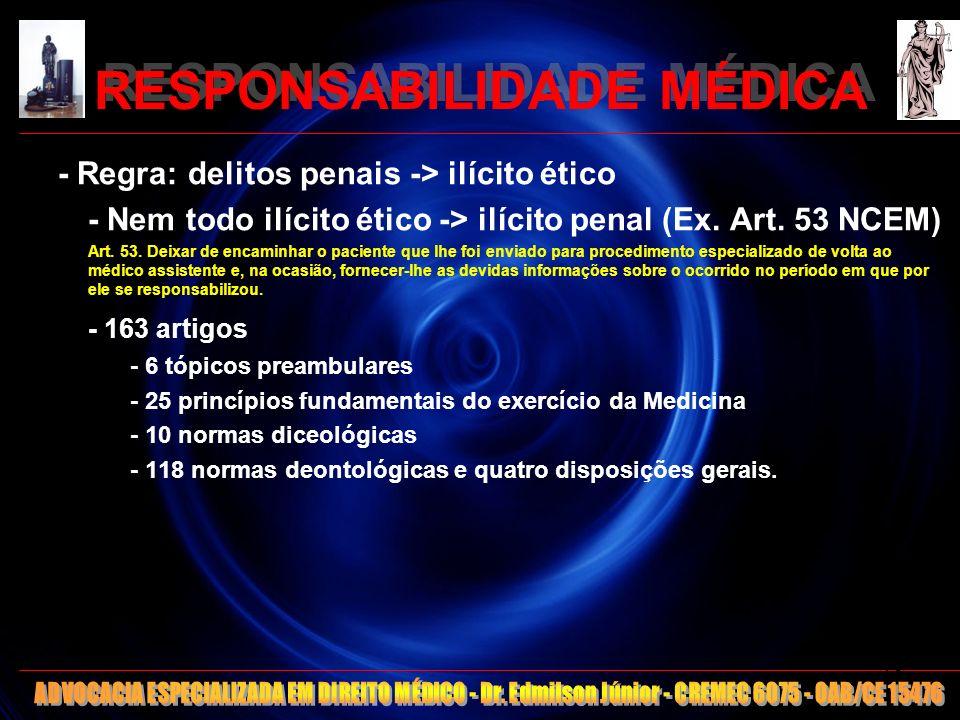 RESPONSABILIDADE MÉDICA ARTIGOS DO CEM – CREMEC/2006 1º lugar: (art.