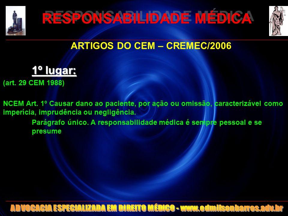 RESPONSABILIDADE MÉDICA RESPONSABILIDADE ADMINISTRATIVA -CÓDIGOS DE ÉTICA – OK -ESTATUTOS -Estatuto do Servidor Público Federal – Lei 8112/90 -Estatuto do Servidor Público do Estado do Ceará – Lei 9826/74 -Estatuto de Servidor Público (Municipal) - Lei 6794/90 -CLT 15