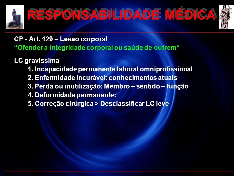 RESPONSABILIDADE MÉDICA RESPONSABILIDADE PENAL Omissão de socorro Art.