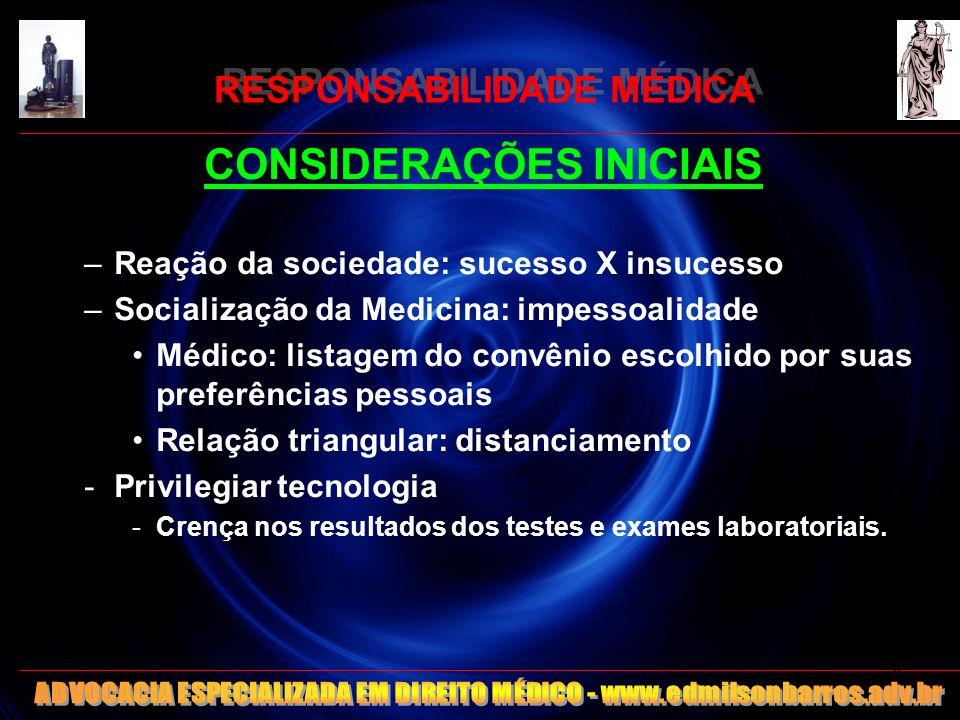 RESPONSABILIDADE MÉDICA CONSIDERAÇÕES INICIAIS -Desconsiderar: nutrição – imunodeficiência - automedicação -Interiorização do médico -Evolução da medicina defensiva - Hospitais -> balcões de negócios.