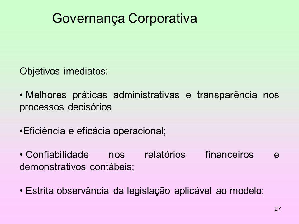 27 Governança Corporativa Objetivos imediatos: Melhores práticas administrativas e transparência nos processos decisórios Eficiência e eficácia operac
