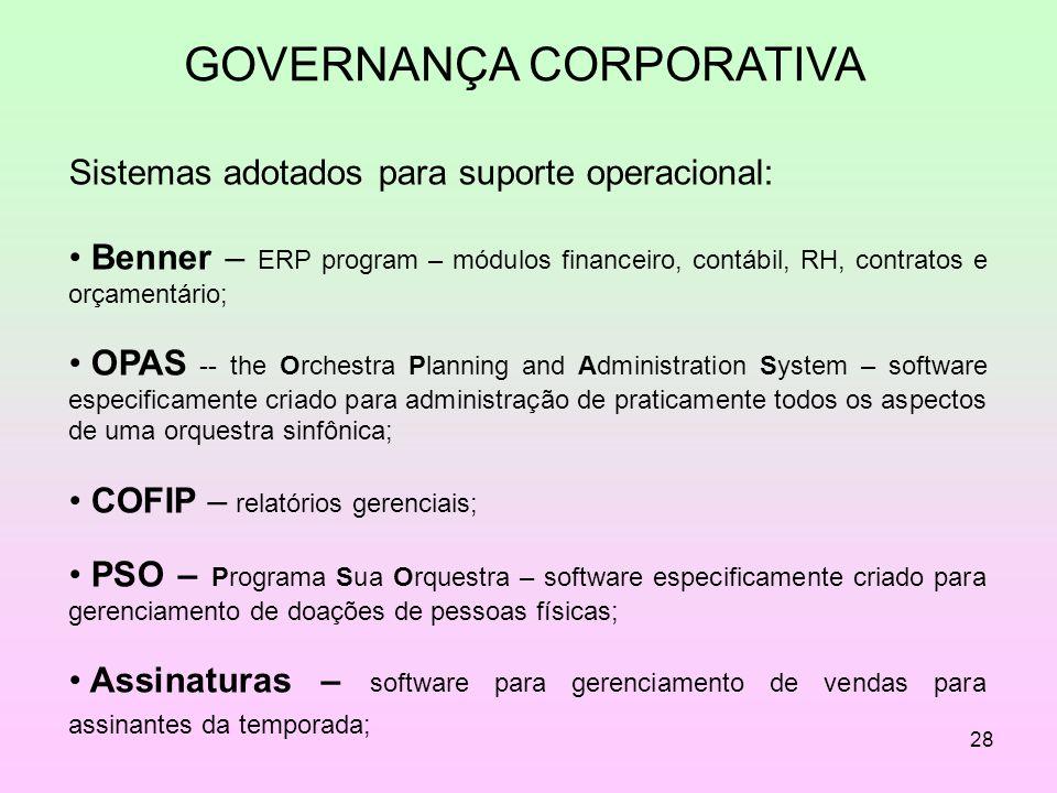 28 GOVERNANÇA CORPORATIVA Sistemas adotados para suporte operacional: Benner – ERP program – módulos financeiro, contábil, RH, contratos e orçamentári