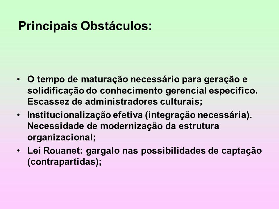 Principais Obstáculos: O tempo de maturação necessário para geração e solidificação do conhecimento gerencial específico. Escassez de administradores