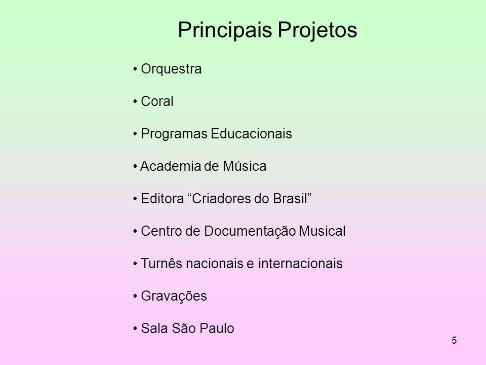 5 Principais Projetos Orquestra Coral Programas Educacionais Academia de Música Editora Criadores do Brasil Centro de Documentação Musical Turnês naci