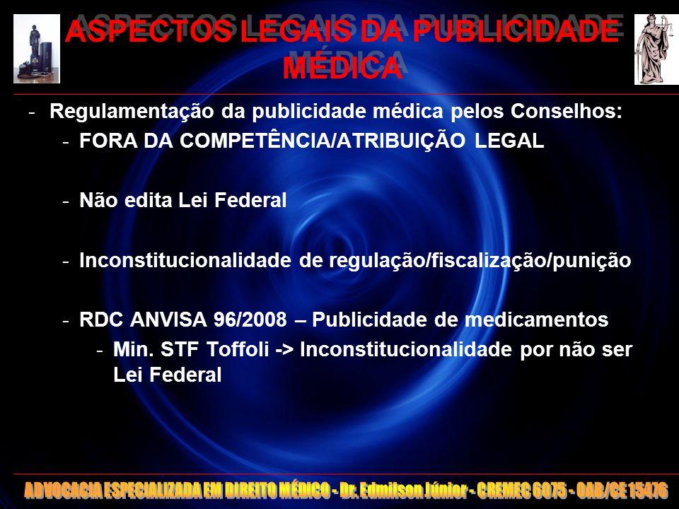 ASPECTOS LEGAIS DA PUBLICIDADE MÉDICA CONSIDERAÇÕES FINAIS -RISCO: Qualquer medida ética é restritiva -> Responsabilização da União, Conselhos e Conselheiros -Improbidade administrativa – Lei 8429/92 – art.