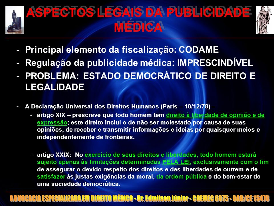 8 ASPECTOS LEGAIS DA PUBLICIDADE MÉDICA CF 1988 Art.