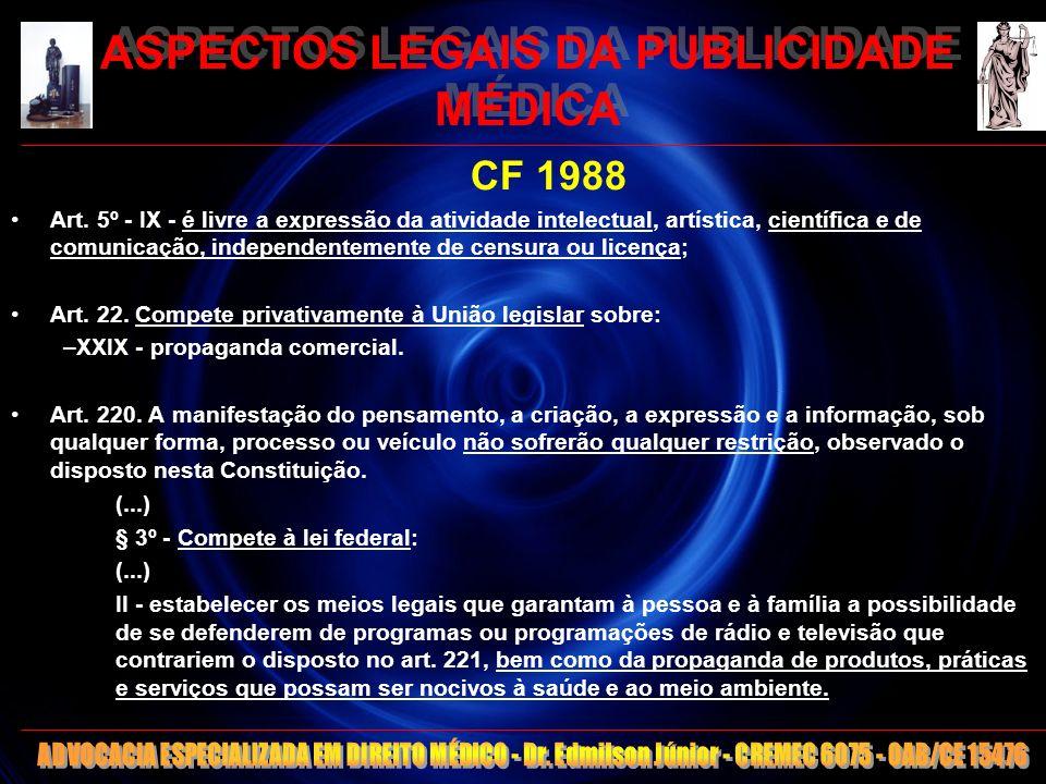 9 ASPECTOS LEGAIS DA PUBLICIDADE MÉDICA -Conselhos de Medicina: Autarquia Federal -Princípio da legalidade estrita -Decretos lei 20931/32 e 4113/42: Regulação de publicidade fere a Constituição (1988) -Hierarquia acima do CEM -Decreto Lei 4113/42: Não proíbe alguns anúncios (aparelhagem, títulos, preço) -Ilegalidade da proibição ética