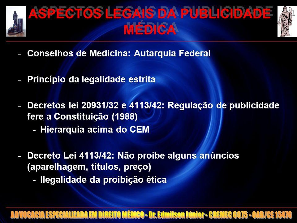 10 ASPECTOS LEGAIS DA PUBLICIDADE MÉDICA EXEMPLOS DE LEI FEDERAL QUE REGULA PUBLICIDADE: -CDC (ARTS.