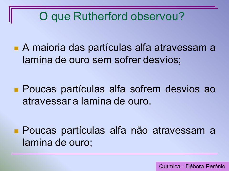 Química - Graça Porto O que Rutherford observou? A maioria das partículas alfa atravessam a lamina de ouro sem sofrer desvios; Poucas partículas alfa