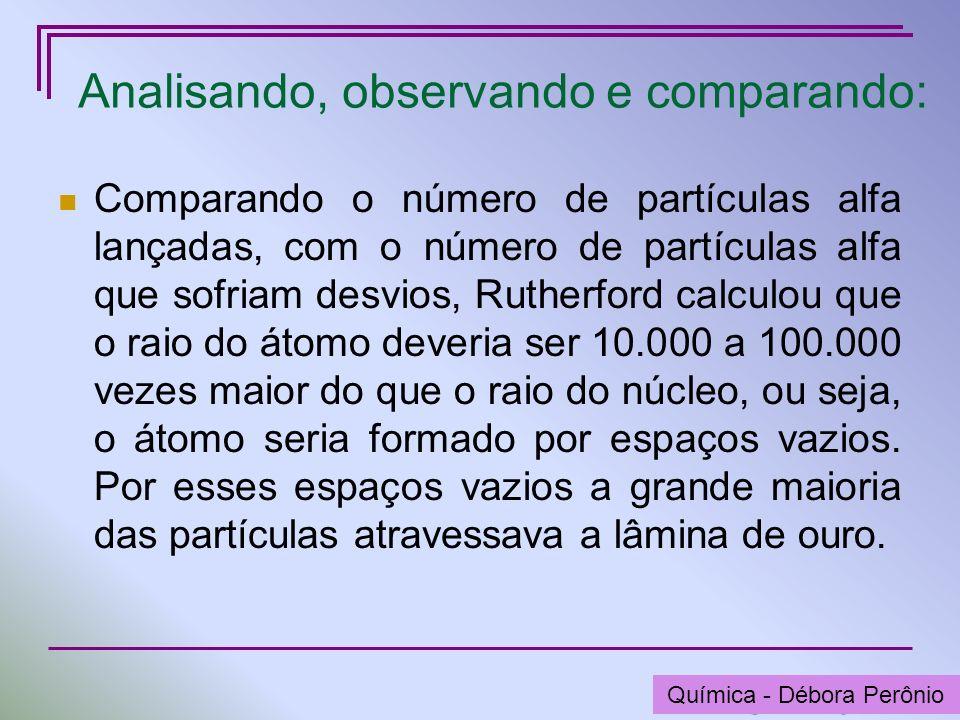 Química - Graça Porto Analisando, observando e comparando: Comparando o número de partículas alfa lançadas, com o número de partículas alfa que sofria