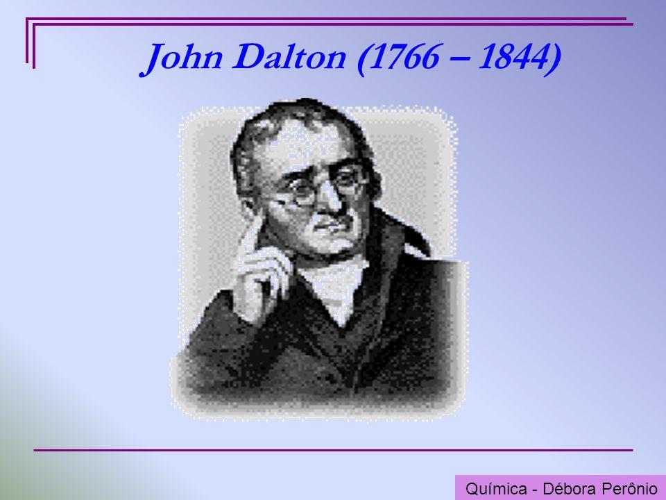 Química - Graça Porto O Átomo de Dalton (1803) John Dalton propôs um modelo de átomo onde pregava as seguintes idéias: toda matéria é composta por átomos; os átomos são indivisíveis; os átomos não se transformam uns nos outros; os átomos não podem ser criados nem destruídos; os elementos químicos são formados por átomos simples; Química - Débora Perônio