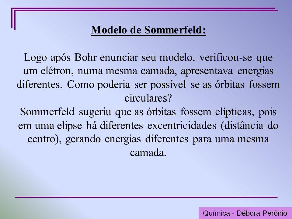 Química - Graça Porto Modelo de Sommerfeld: Logo após Bohr enunciar seu modelo, verificou-se que um elétron, numa mesma camada, apresentava energias d