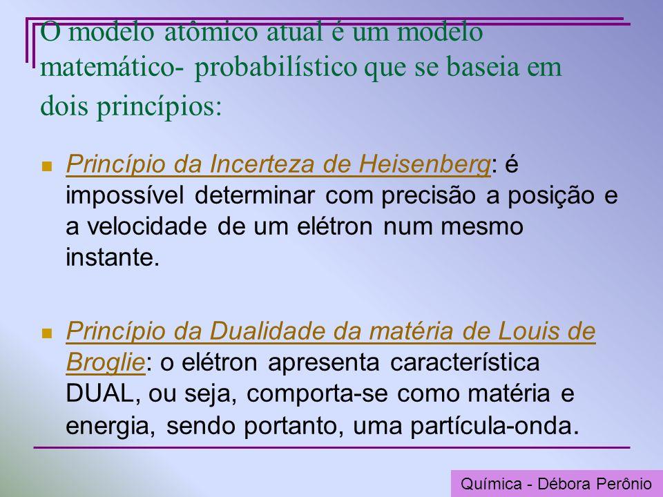 Química - Graça Porto O modelo atômico atual é um modelo matemático- probabilístico que se baseia em dois princípios: Princípio da Incerteza de Heisen