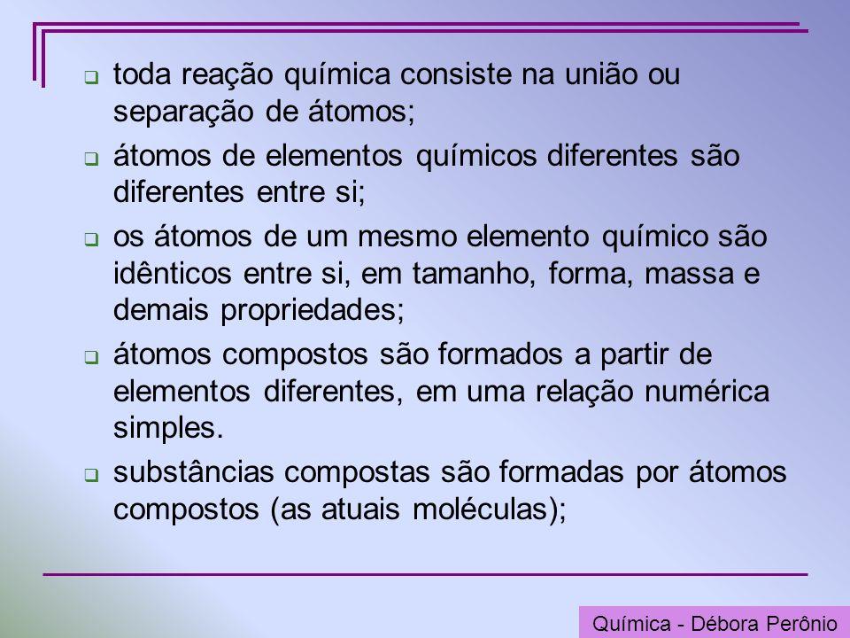 Química - Graça Porto toda reação química consiste na união ou separação de átomos; átomos de elementos químicos diferentes são diferentes entre si; o
