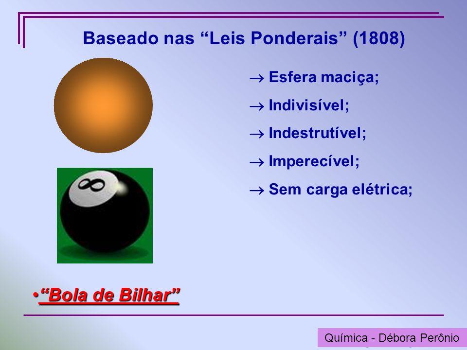 Química - Graça Porto Baseado nas Leis Ponderais (1808) Esfera maciça; Indivisível; Indestrutível; Imperecível; Sem carga elétrica; Bola de BilharBola