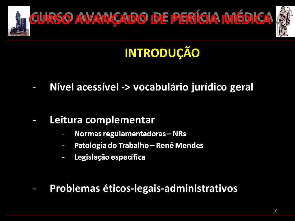 10 INTRODUÇÃO -Nível acessível -> vocabulário jurídico geral -Leitura complementar -Normas regulamentadoras – NRs -Patologia do Trabalho – Renê Mendes