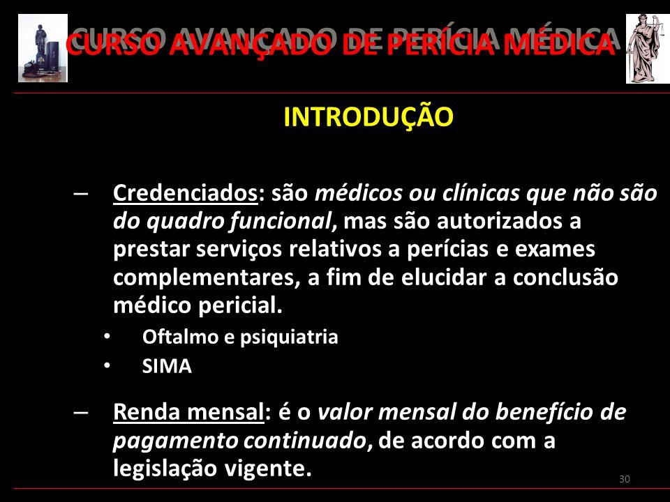 30 INTRODUÇÃO – Credenciados: são médicos ou clínicas que não são do quadro funcional, mas são autorizados a prestar serviços relativos a perícias e e