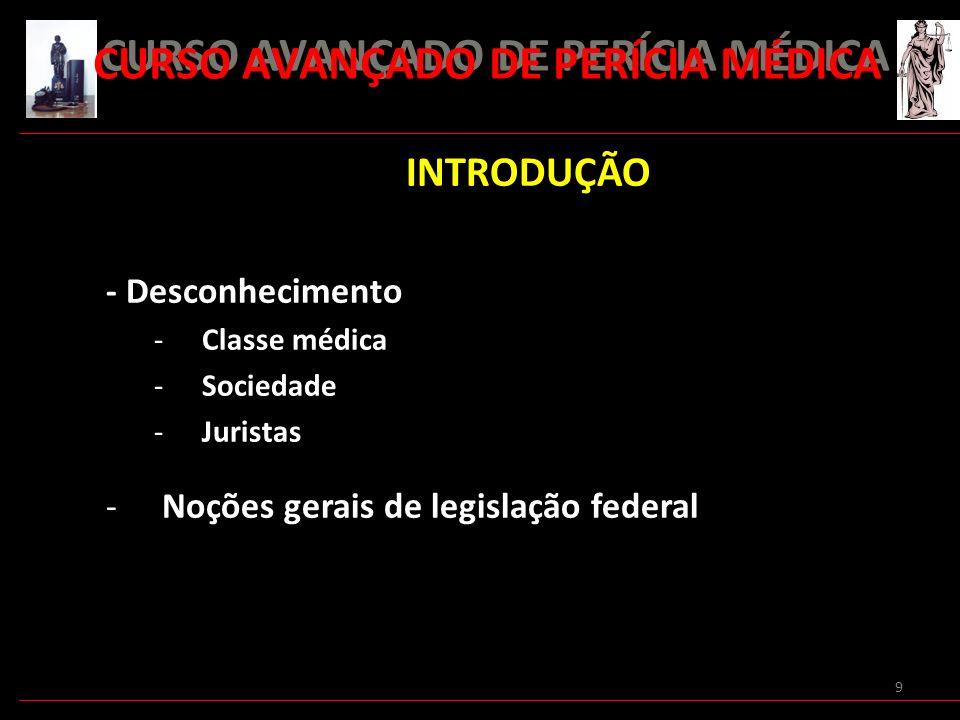 9 INTRODUÇÃO - Desconhecimento -Classe médica -Sociedade -Juristas -Noções gerais de legislação federal CURSO AVANÇADO DE PERÍCIA MÉDICA