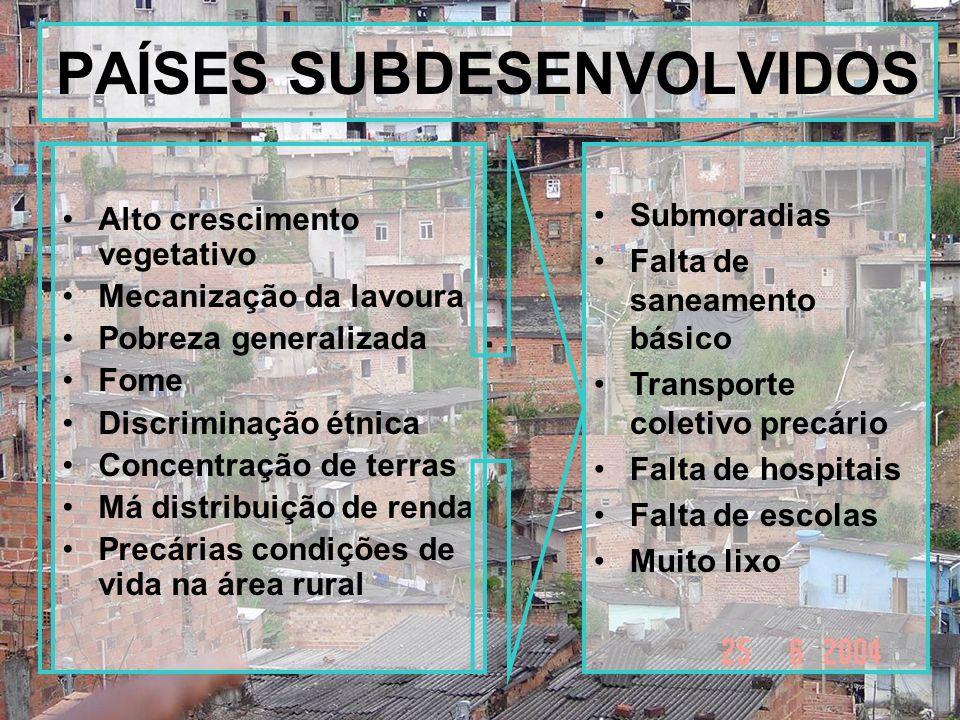 PAÍSES SUBDESENVOLVIDOS Alto crescimento vegetativo Mecanização da lavoura Pobreza generalizada Fome Discriminação étnica Concentração de terras Má di