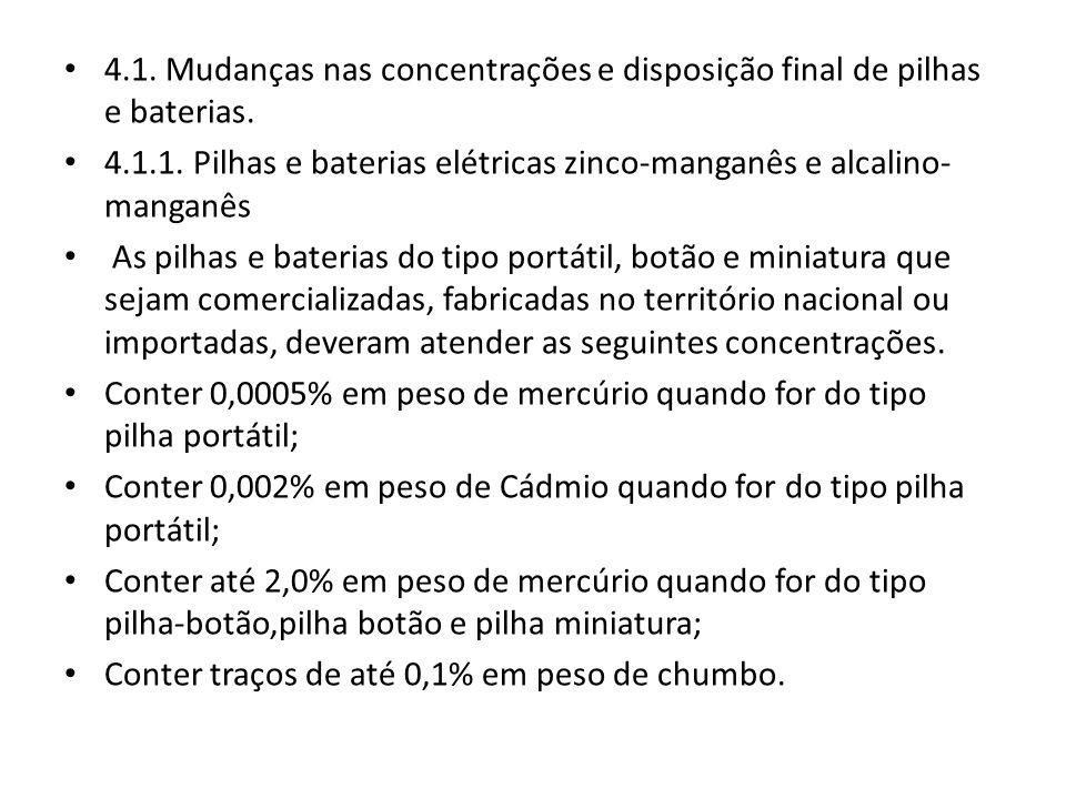4.1.1. Pilhas e baterias elétricas zinco-manganês e alcalino- manganês As pilhas e baterias do tipo portátil, botão e miniatura que sejam comercializa