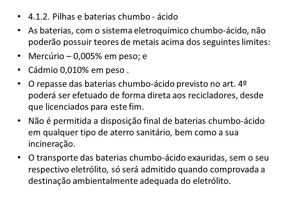 4.1.2. Pilhas e baterias chumbo - ácido As baterias, com o sistema eletroquímico chumbo-ácido, não poderão possuir teores de metais acima dos seguinte
