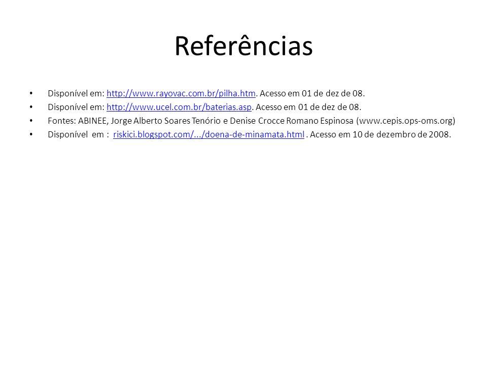 Referências Disponível em: http://www.rayovac.com.br/pilha.htm. Acesso em 01 de dez de 08.http://www.rayovac.com.br/pilha.htm Disponível em: http://ww