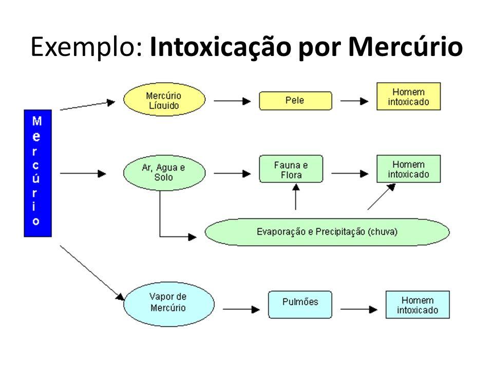 A intoxicação por mercúrio (Hg) é feita por inalação de vapores ou por ingestão alimentar, como no caso do DESASTRE DE MINAMATA.