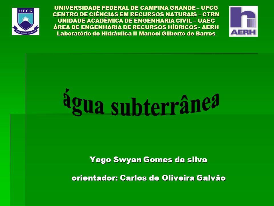 UNIVERSIDADE FEDERAL DE CAMPINA GRANDE – UFCG CENTRO DE CIÊNCIAS EM RECURSOS NATURAIS – CTRN UNIDADE ACADÊMICA DE ENGENHARIA CIVIL – UAEC ÁREA DE ENGENHARIA DE RECURSOS HÍDRICOS - AERH Laboratório de Hidráulica II Manoel Gilberto de Barros Yago Swyan Gomes da silva orientador: Carlos de Oliveira Galvão Yago Swyan Gomes da silva orientador: Carlos de Oliveira Galvão
