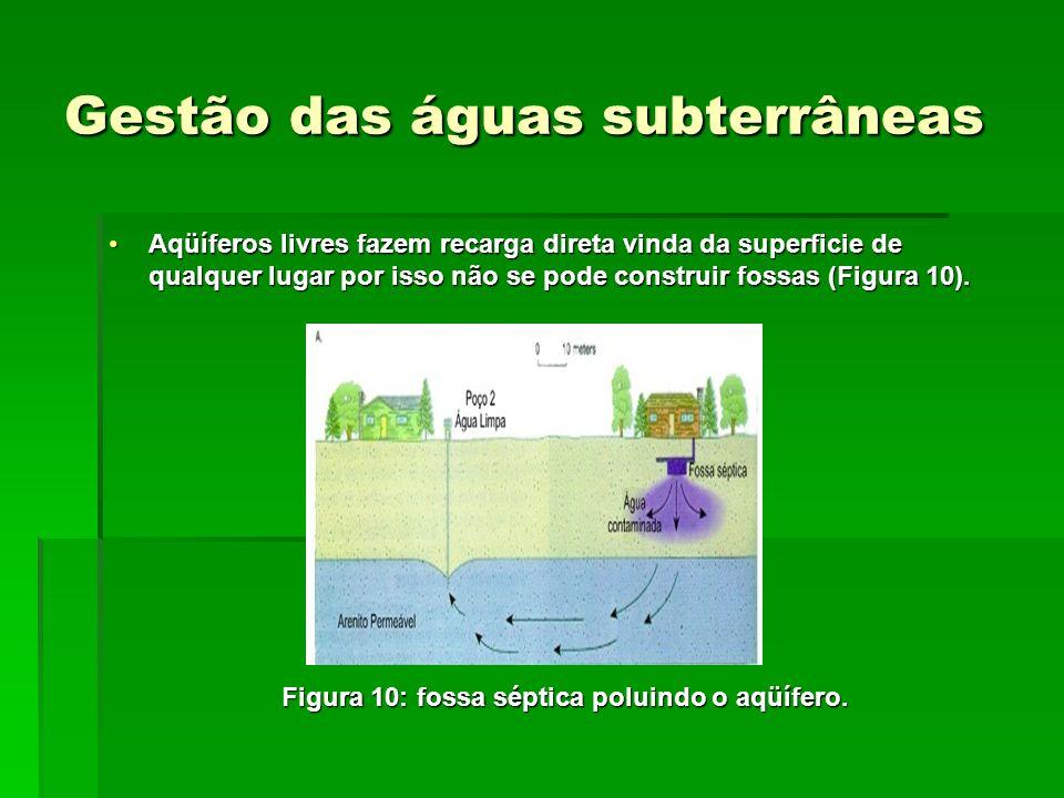 Gestão das águas subterrâneas Aqüíferos livres fazem recarga direta vinda da superficie de qualquer lugar por isso não se pode construir fossas (Figura 10).Aqüíferos livres fazem recarga direta vinda da superficie de qualquer lugar por isso não se pode construir fossas (Figura 10).
