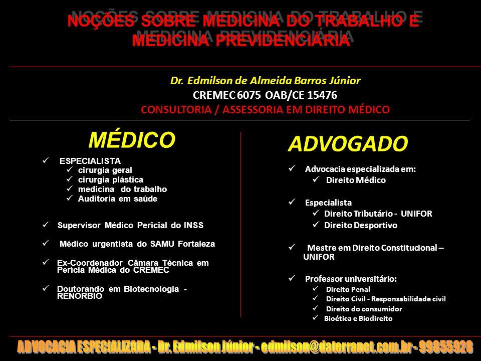 1 NOÇÕES SOBRE MEDICINA DO TRABALHO E MEDICINA PREVIDENCIÁRIA MÉDICO ESPECIALISTA cirurgia geral cirurgia plástica medicina do trabalho Auditoria em s